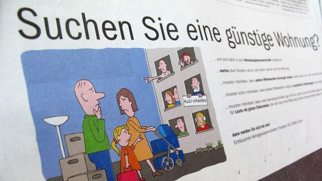 """Inserat des HEV mit dem Titel """"Suchen sie eine günsteige Wohnung"""" und dem Bild einer frustrierten Familie"""
