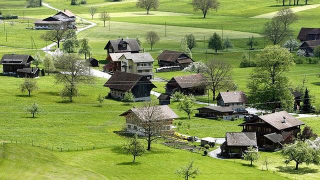 Häuser auf Wiese