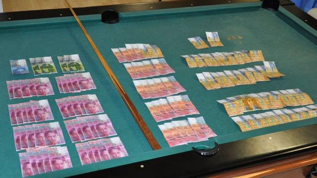 Bargeld liegt auf einem Billardtisch