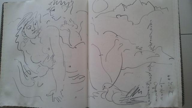 Eine Skizze von Hans Erni anlässlich seines 85. Geburtstags vor 20 Jahren.