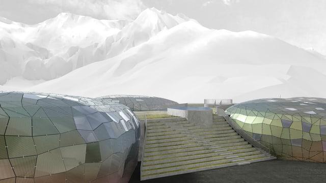 Ein Bild des Alpenbad-Projektes mit verspiegelten Hügeln und einer Treppe.