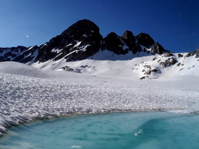 Ein Gletschersee erwacht mitten im Schnee.