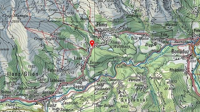 carta geografica da Laax e Flem