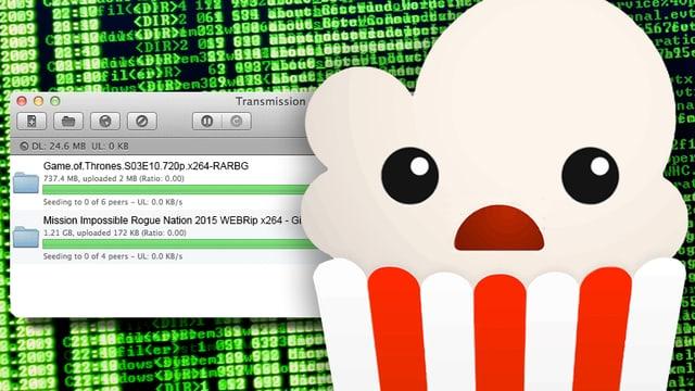 Das Maskottchen des Streaming-Dienstes Popcorn Time vor einer Datentapete und dem Bittorrent-Client Transmission.