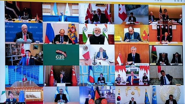 Die G20 für einmal nur auf dem Bildschirm.