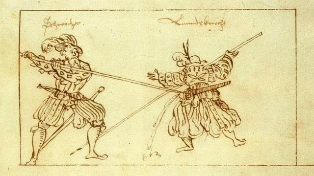 Zeichnung eines Kampfes