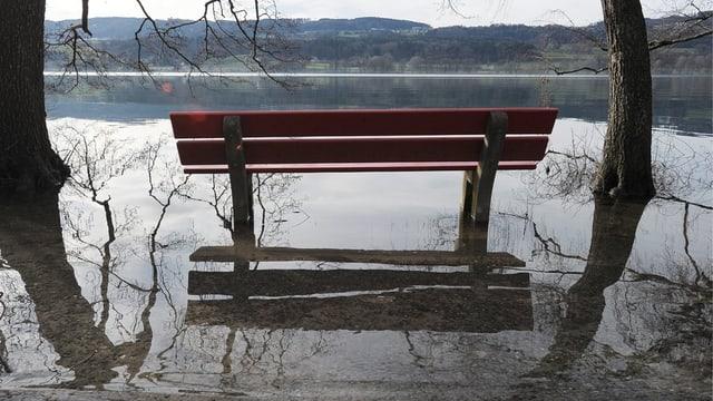 Aussichtsbank steht am Greifensee unter Wasser.