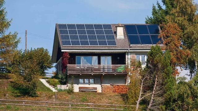 Ein Haus mit Sonnenkollektoren.