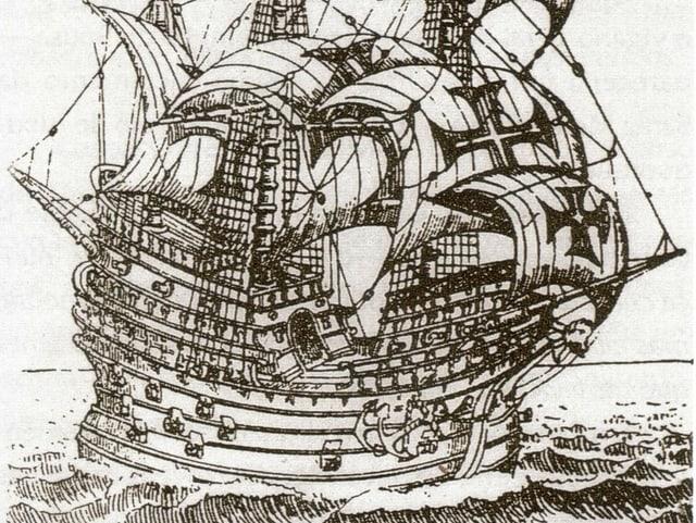 Lithografie des Segelschiffs  «Flor de la Mar».
