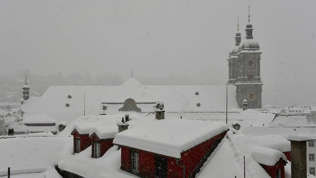 Winterlandschaft mit Neuschnee auf den Hausdächern.