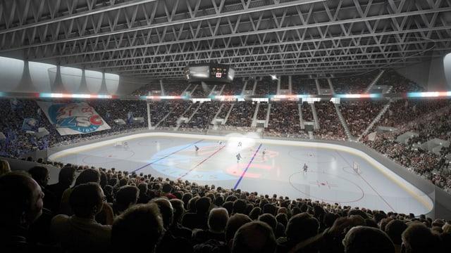 Ein Hockeystadion mit der Eisfläche in der Mitte, rundherum Fans.