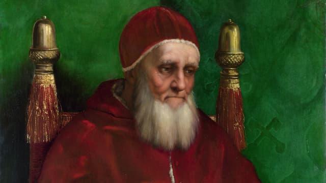 Ein Bildnis von Papst Julius II. vor grünem Hintergrund.