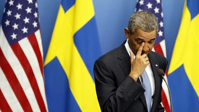Obama an der Medienkonferenz in Stockholm.