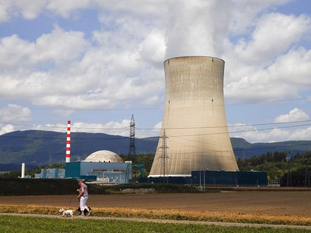 Zu sehen das Atomkraftwerk Gösgen an einem sonnigen Tag, vor dem Werk spaziert eine Frau mit ihrem Hund vorbei