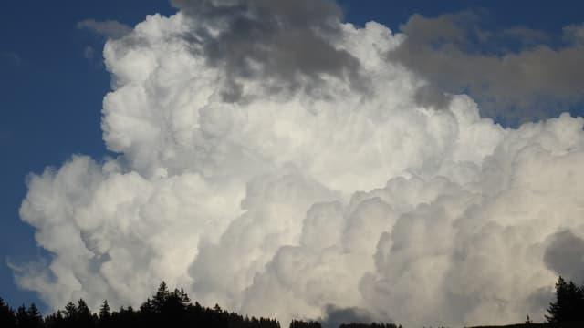 Riesige Quellwolke über Feutersoey im Saanenland.