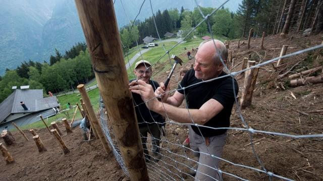 Freiwillige Helfer bauen einen Zaun.