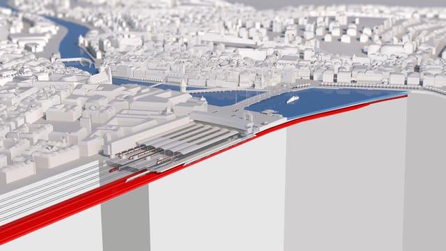 Modell des Durchgangsbahnhofs Luzern.
