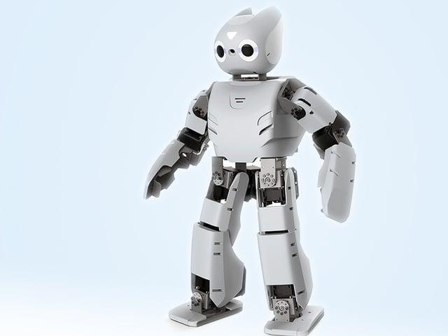 Ein weisser Roboter mit einem Kopf, der an einen Hasen erinnert.