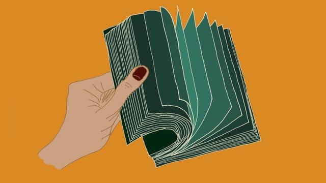 Illustration einer Hand, die in einem Buch blättert.