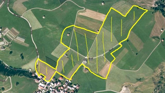 Foto da satellit da l'areal sper Degen, prendì en locaziun da l'Open Air Lumnezia.