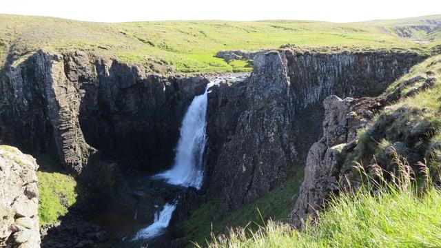 Grüne Wiesen und Wasserfall.