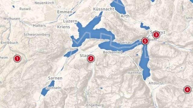 Eine Karte, welche die Zentralschweiz zeigt.