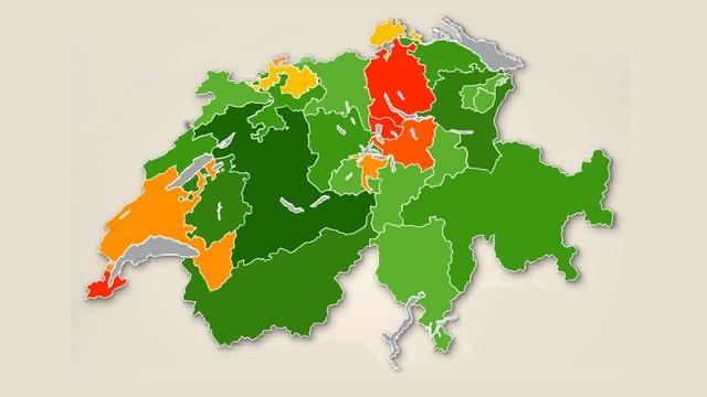 Schweizerkarte mit Kantonsgrenzen.