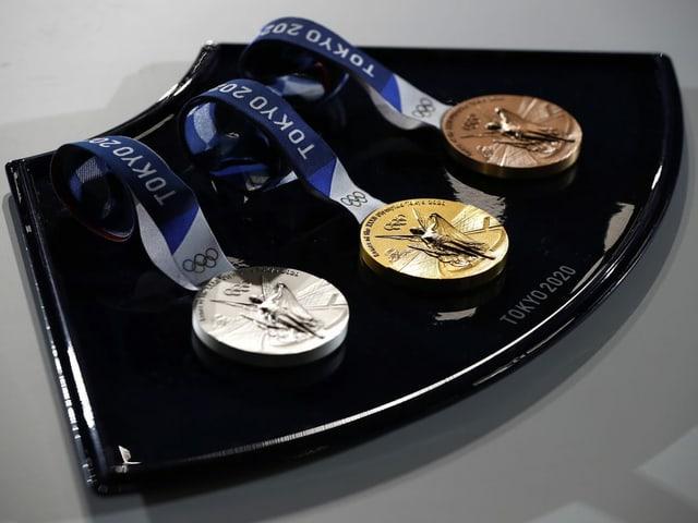 Gold Silber und Bronze.