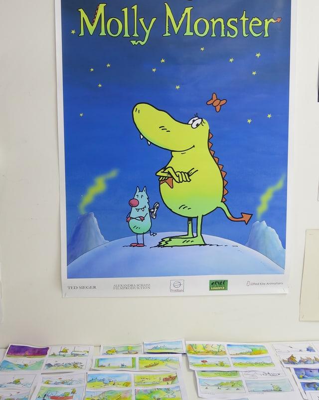 Plakat mit Monstermädchen Molly und seinem Freund Edison.