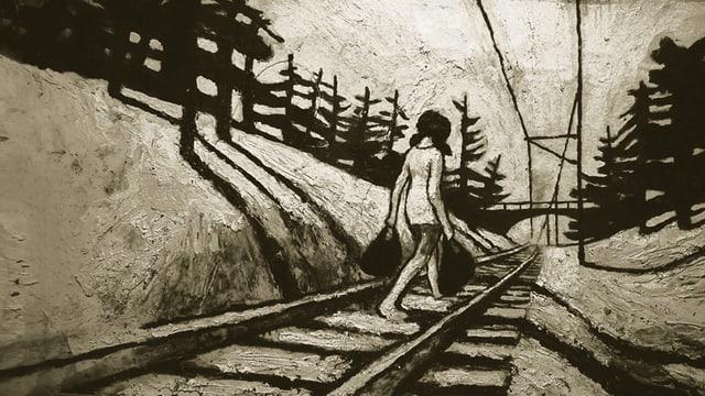 Zeichung: Ein Mädchen geht auf Bahngeleisen