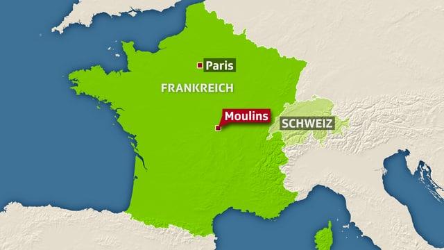 Karte Frankreichs mit der Unfallstelle