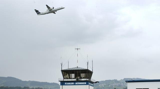 Flugzeug startet auf dem Flugplatz Altenrhein