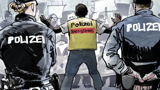 """Illustration: Ein Mensch mit Gilet, auf dem steht """"Polizei Dialogteam""""."""