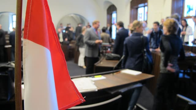 Die Solothurner Fahne im Kantonsratssaal.