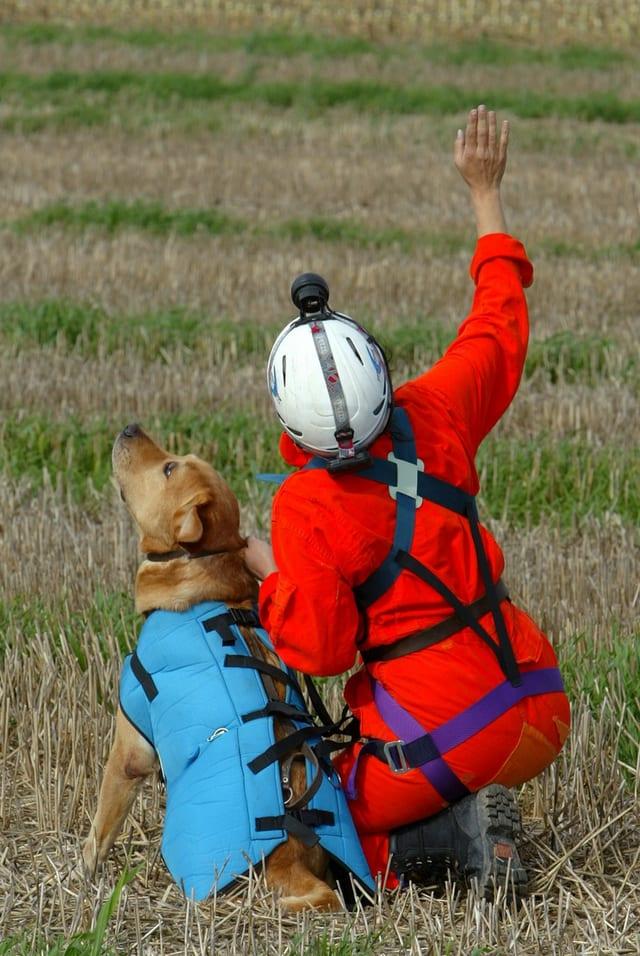 Ein Suchhund mit einer Retterin.