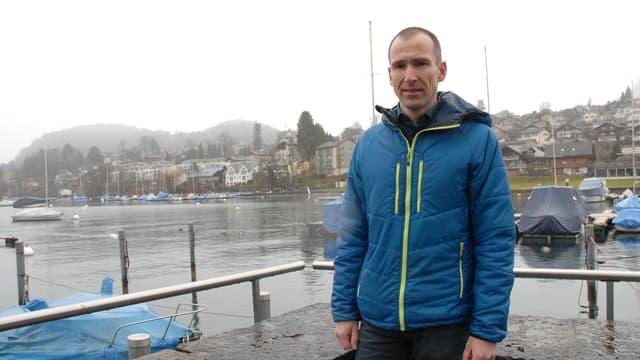 Matthias Kohler in der Spiezer Bucht