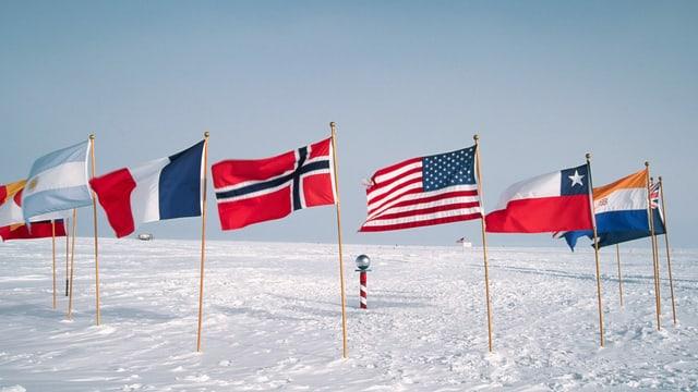 Fahnen am geographischen Südpol