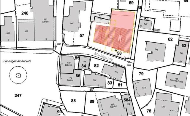 Situationsplan, wo das neue Gebäude hinkommen soll