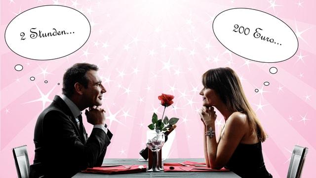 Ein Mann und eine Frau sitzen beim romantischen Dinner - die Frau denkt an Geld, der Mann an die Zeit, die er mit der Frau verbringt. Was nach dem Essen passiert, bleibt den beiden überlassen.