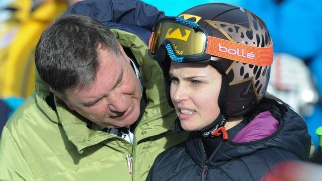 Anna Fenninger mit ihrem Manager Klaus Kärcher.
