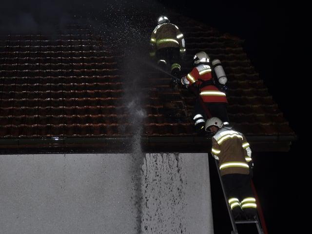 Feuerwehrmänner auf einer Leiter.