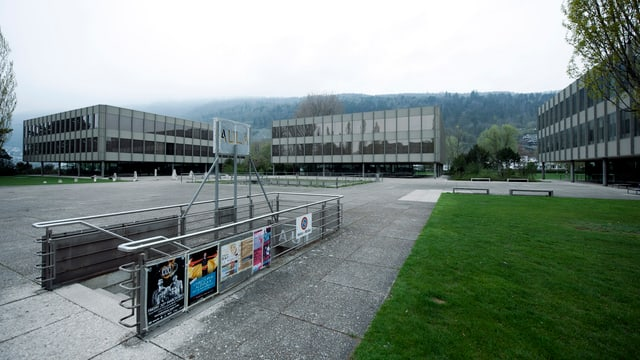 Schulhäuser mit grünem Rasen im Vordergergrund