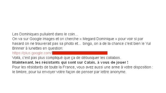 Aufruf zur Gewalt gegen Mégard im Internet