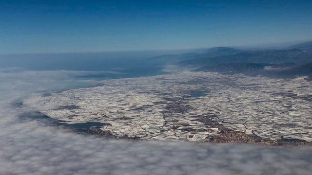 Luftaufnahme der Stadt El Ejido. Zu sehen sind vor allem weisse, eckige Flecken - die zahlreichen Gewächshäuser.