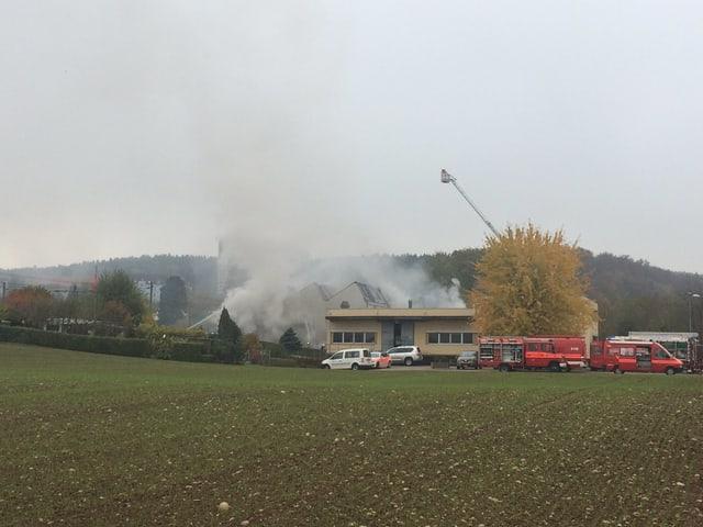 Rauch über einem Industriegebäude.