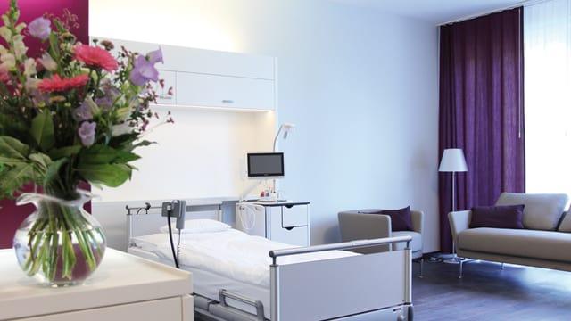 Blick in ein Einzelzimmer der neuen Basler Geburtsklinik