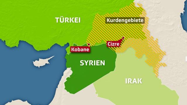 Karte - Syrien, Irak, Türkei