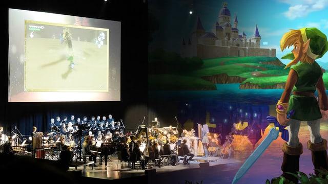 Rechts im Bild: Orchester mit Leinwand, darauf Ausschnit aus einem Zelda-Game. Links im Bild: Link, wie er auf die Leinwand blickt.
