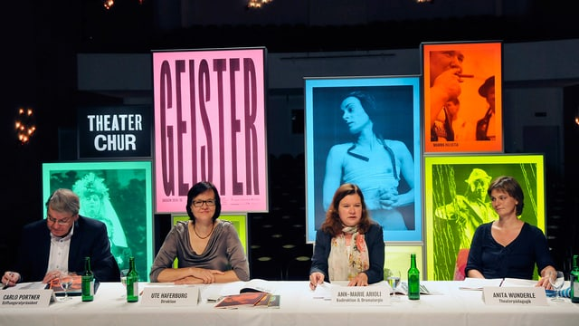 Die Leitung des Theaters Chur sitzt an einem Tisch, im Hintergrund farbige Plakate.
