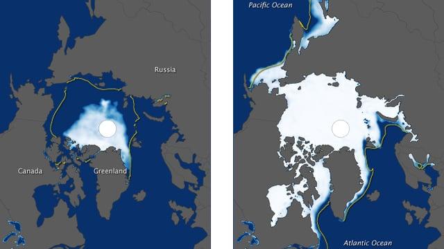 Zwei Bilder. Ein Bild zeigt die Eisausdehnung Ende Sommer 2012. Nur noch ein kleiner Teil der Arktis ist eisüberzogen. Das zweite Bild zeigt die Eisausdehnung ein halbes Jahr später, Ende Winter 2013. Die Eisdecke konnte sich flächenmässig zwar etwas erholen, kommt aber nicht an den 30-Jahre-Median heran.
